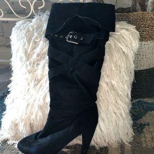 Black suade heeled boots